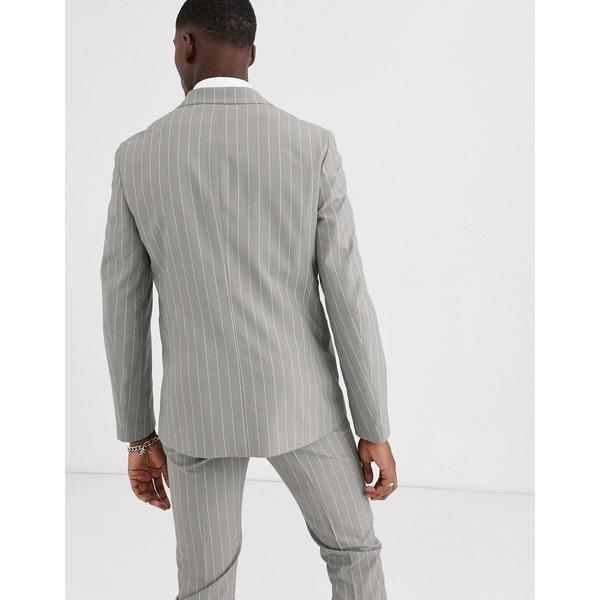 エイソス メンズ ジャケット&ブルゾン アウター ASOS DESIGN Tall skinny suit jacket in soft gray pinstripe Gray