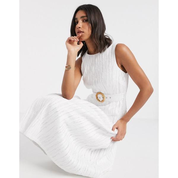 エイソス レディース ワンピース トップス ASOS DESIGN drop waist textured midi dress with buckle belt in cream Cream