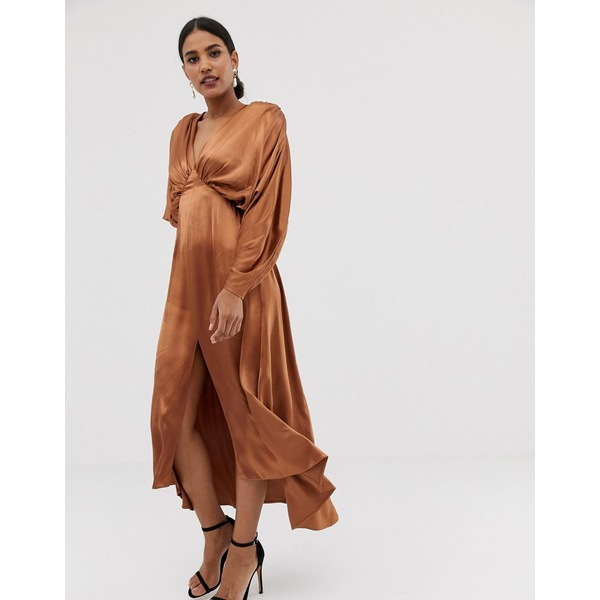 エイソス レディース ワンピース トップス ASOS EDITION ruched batwing midi dress in satin Nutmeg