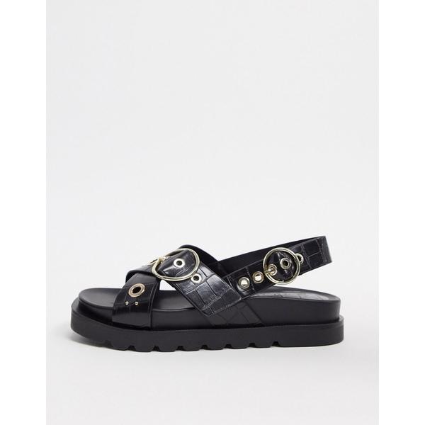 ストラディバリウス レディース サンダル シューズ Stradivarius moc croc flat sandal with buckle in black Black