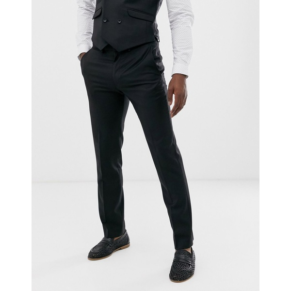 エイソス メンズ カジュアルパンツ ボトムス ASOS DESIGN wedding slim suit pants in black 100% wool Black