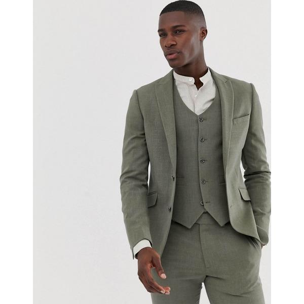 エイソス メンズ ジャケット&ブルゾン アウター ASOS DESIGN skinny suit jacket in khaki cross hatch Khaki