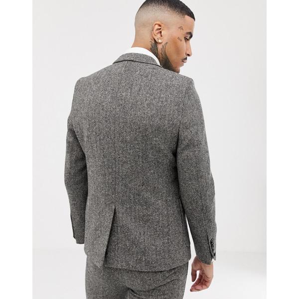 ツイステッドテイラー メンズ ジャケット&ブルゾン アウター Twisted Tailor super skinny suit jacket in gray herringbone Gray