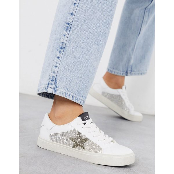 スティーブ マデン レディース スニーカー シューズ Steve Madden Philip sneaker in white with rhinestone trim Rhinestone