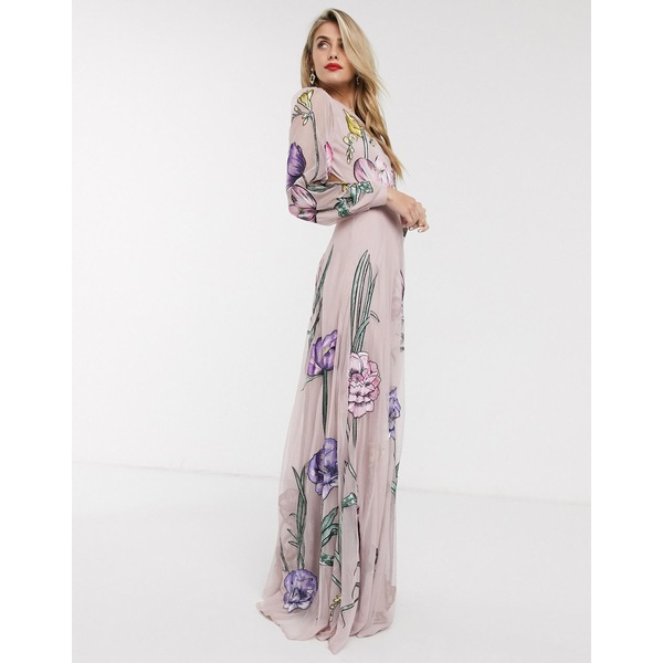 エイソス レディース ワンピース トップス ASOS EDITION maxi dress with cut out back and oversized floral embroidery Pink