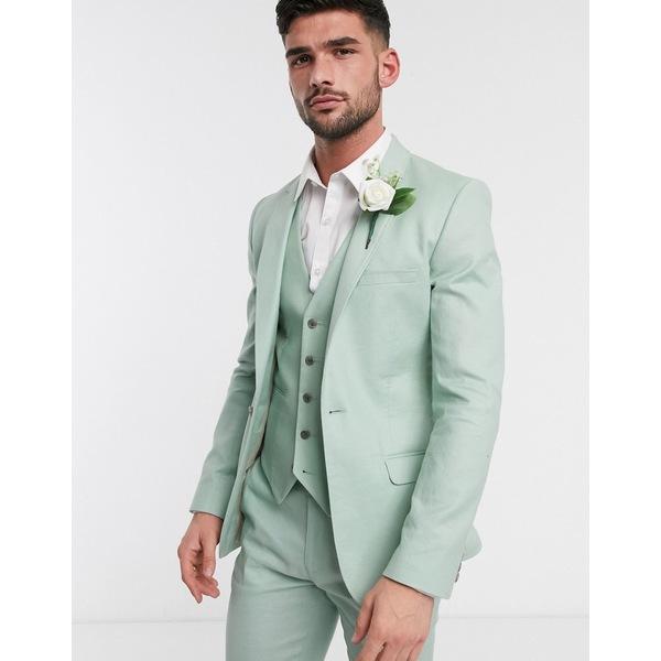 エイソス メンズ ジャケット&ブルゾン アウター ASOS DESIGN wedding super skinny suit jacket in stretch cotton linen in mint green Green