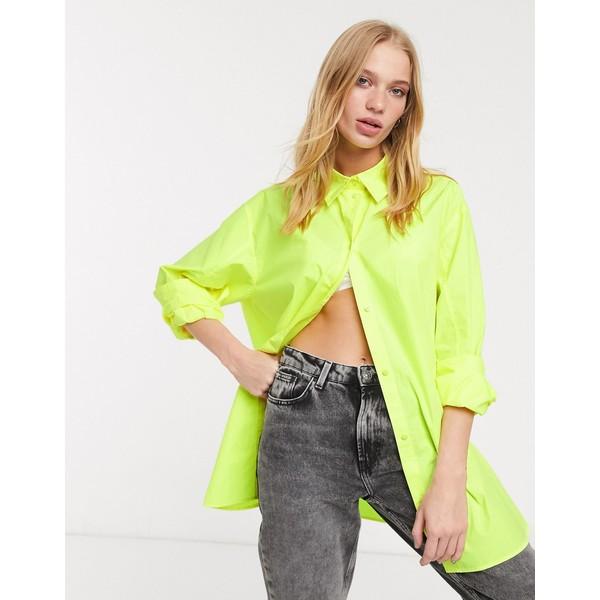 ウィークデイ レディース シャツ トップス Weekday button through poplin shirt in yellow Bright yellow