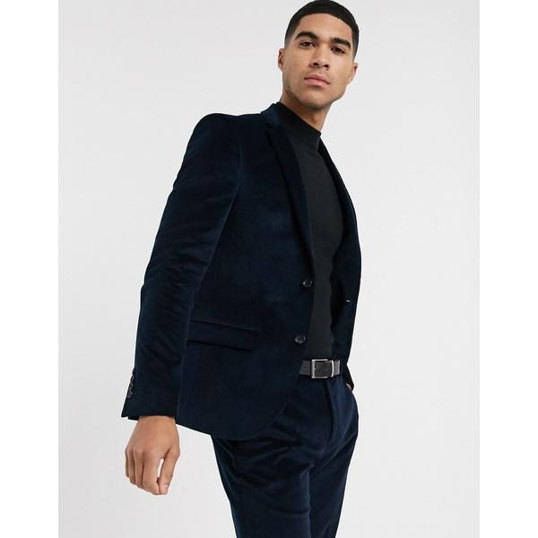 リバーアイランド メンズ ジャケット&ブルゾン アウター River Island skinny suit jacket in blue cord Teal