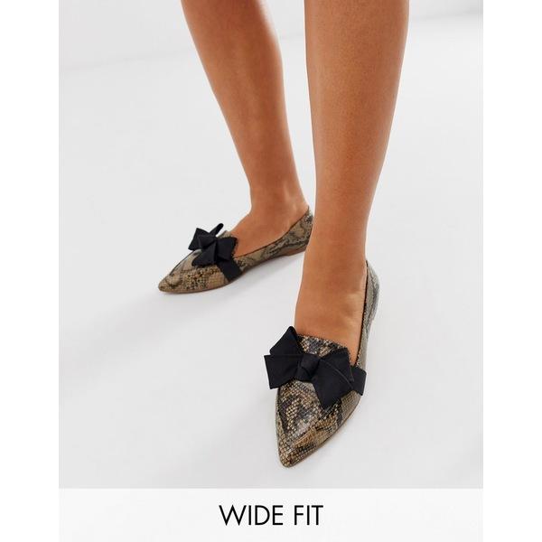 エイソス レディース サンダル シューズ ASOS DESIGN Wide Fit Ludo bow ballet flats loafers in snake Natural snake