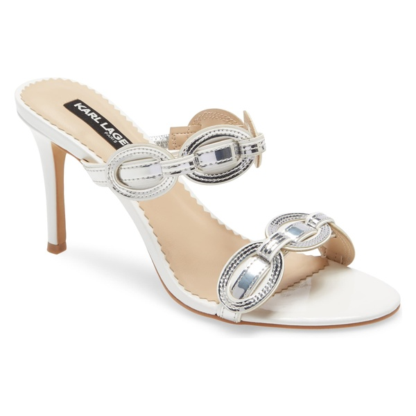 カールラガーフェルド レディース サンダル シューズ Karl Lagerfeld Paris Dalya Slide Sandal (Women) White/ Silver Leather