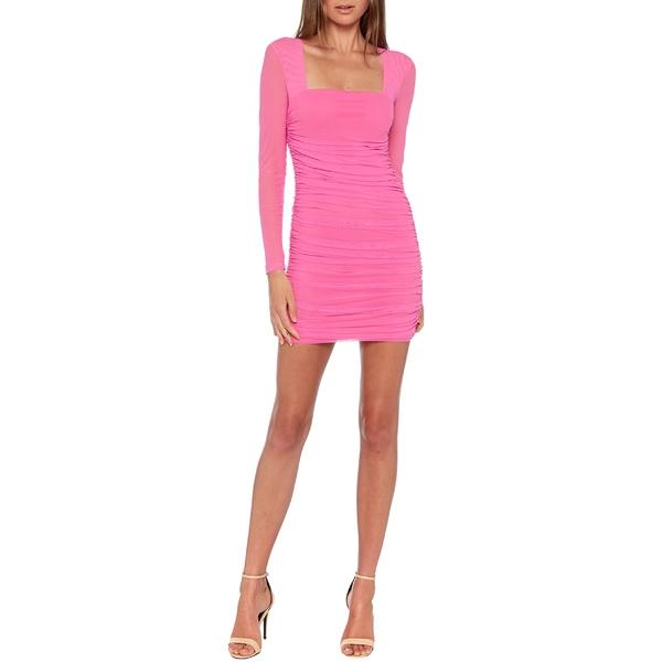 バードット レディース ワンピース トップス Bardot Tasha Long Sleeve Body-Con Dress Pink Shock