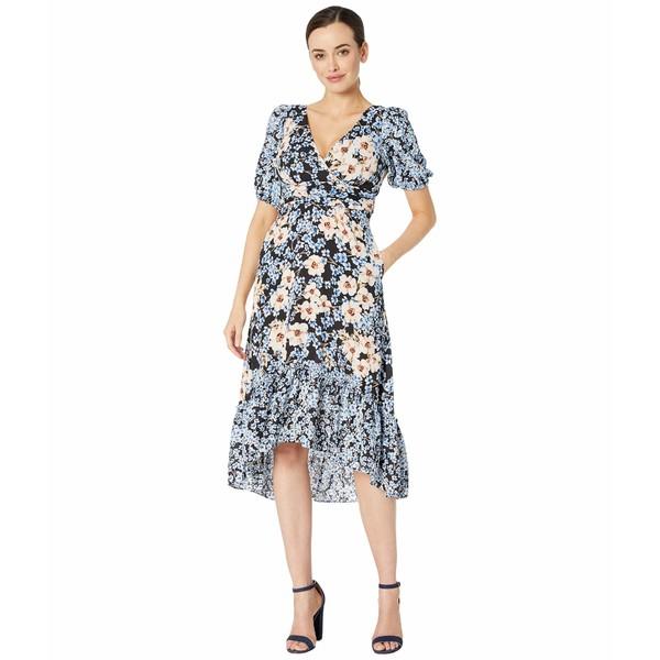 ドナモーガン レディース ワンピース トップス Short Bubble Sleeve Midi Dress with Ruffle High-Low Hem and Waist Ruching Periwinkle/Coral