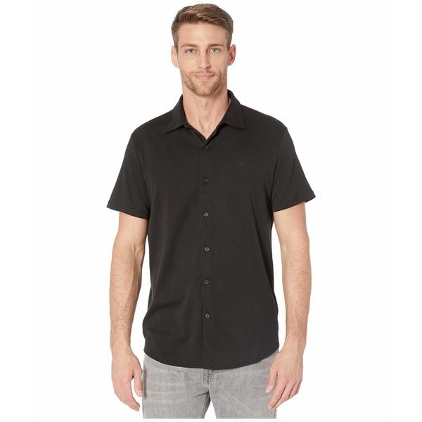カルバンクライン メンズ シャツ トップス Short Sleeve Liquid Touch Button-Up Polo Shirt Black