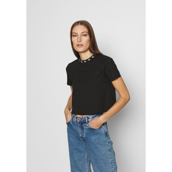 カルバンクライン レディース トップス Tシャツ ck black 全商品無料サイズ交換 LOGO 爆売りセール開催中 メーカー公式ショップ - TEE T-shirt vafa01cc Print TRIM