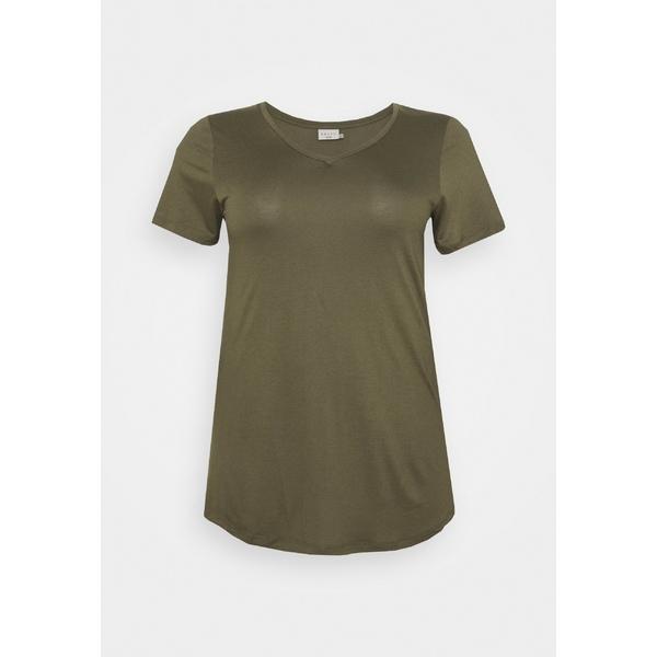 カフェ カーブ レディース Tシャツ トップス KCANELI V NECK - Basic T-shirt - grape leaf vbkz011e