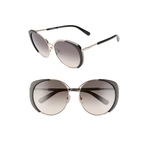 サルヴァトーレ フェラガモ レディース サングラス&アイウェア アクセサリー Salvatore Ferragamo 60mm Gradient Cat Eye Sunglasses Light Gold/ Black