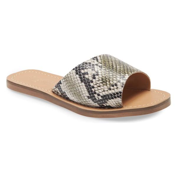 マチス レディース サンダル シューズ Matisse Sage Slide Sandal (Women) Khaki Snake Leather