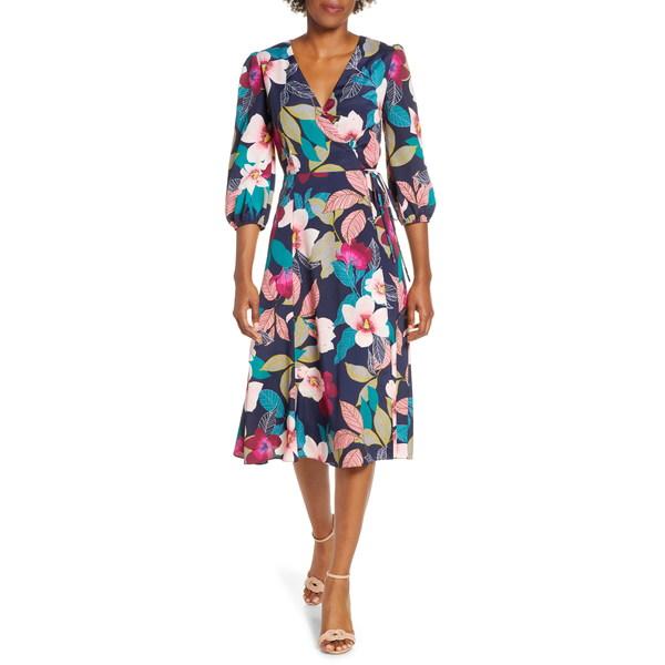 物品 エリザジェイ レディース トップス ワンピース NAVY 全商品無料サイズ交換 ファクトリーアウトレット Wrap Floral Print Dress Faux
