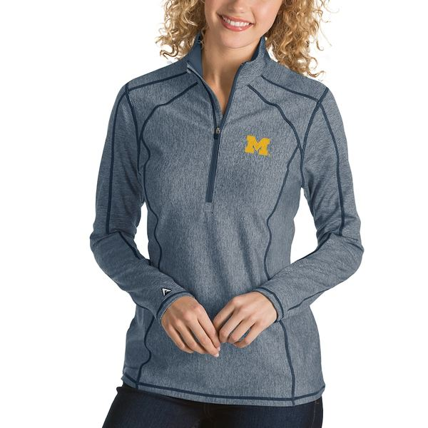 アンティグア レディース ジャケット&ブルゾン アウター Michigan Wolverines Antigua Women's Tempo 1/4-Zip Desert Dry Pullover Jacket Navy
