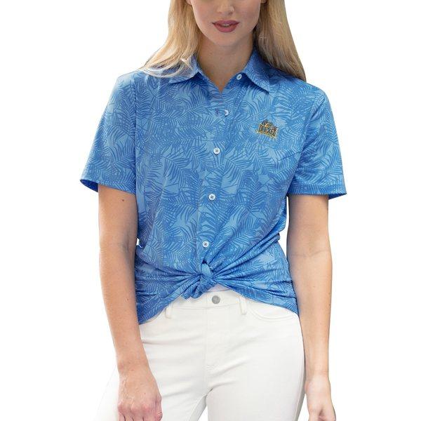 ビンテージアパレル レディース シャツ トップス Drexel Dragons Women's Vansport Pro Maui Button-Up Shirt Blue