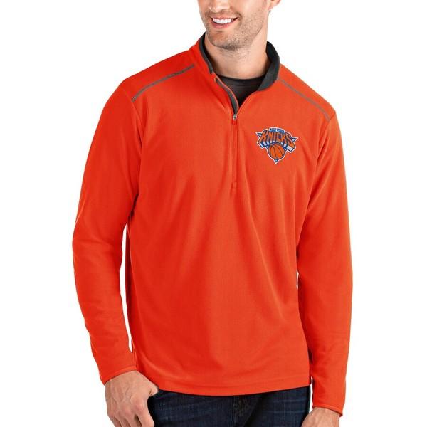 アンティグア メンズ ジャケット&ブルゾン アウター New York Knicks Antigua Glacier Quarter-Zip Pullover Jacket Orange/Gray