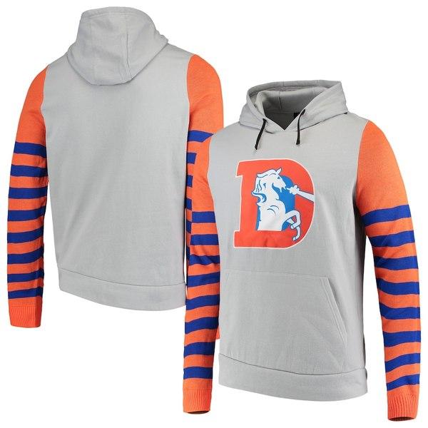 フォコ メンズ パーカー・スウェットシャツ アウター Denver Broncos Retro Stripe Fleece Pullover Hoodie Gray