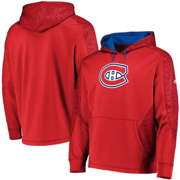 マジェスティック メンズ パーカー・スウェットシャツ アウター Montreal Canadiens Majestic Armor Therma Base Pullover Hoodie Red/Blue