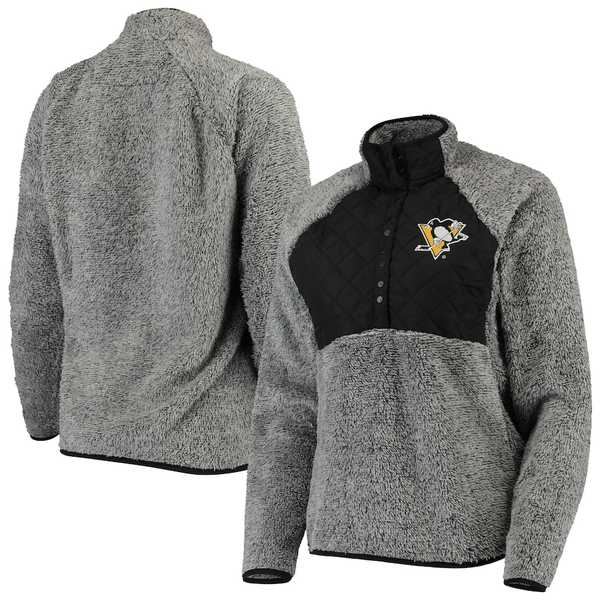アンティグア レディース ジャケット&ブルゾン アウター Pittsburgh Penguins Antigua Women's Surround Sherpa Quarter-Snap Pullover Jacket Black/Heathered Gray