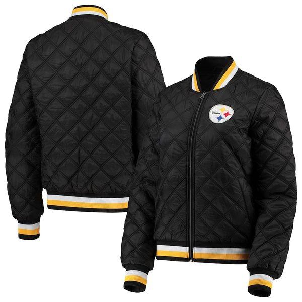 カールバンクス レディース ジャケット&ブルゾン アウター Pittsburgh Steelers G-III 4Her by Carl Banks Women's Goal Line Quilted Bomber Full-Zip Jacket Black