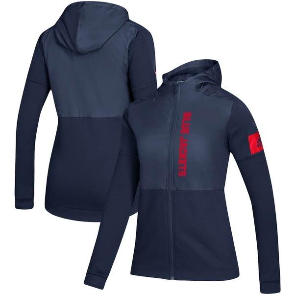 アディダス レディース ジャケット&ブルゾン アウター Columbus Blue Jackets adidas Women's Game Mode Full-Zip Jacket Navy