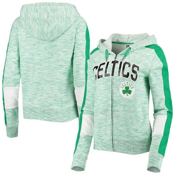 ニューエラ レディース ジャケット&ブルゾン アウター Boston Celtics New Era Women's Space Dye Full-Zip Hoodie Heathered Kelly Green