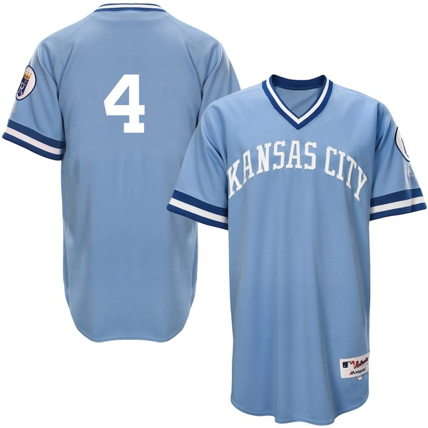 マジェスティック メンズ シャツ トップス Alex Gordon Kansas City Royals Majestic Authentic 1976 Turn Back the Clock Player Jersey Light Blue