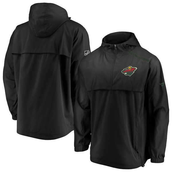 ファナティクス メンズ ジャケット&ブルゾン アウター Minnesota Wild Fanatics Branded Authentic Pro Rinkside Anorak 1/4-Zip Jacket Black
