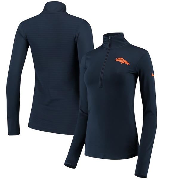 ナイキ レディース ジャケット&ブルゾン アウター Denver Broncos Nike Women's Team Logo Half-Zip Pullover Jacket Navy