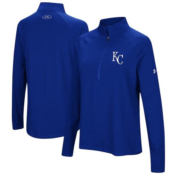 アンダーアーマー レディース ジャケット&ブルゾン アウター Kansas City Royals Under Armour Women's Passion Performance Tri-Blend Raglan Half-Zip Pullover Jacket Royal