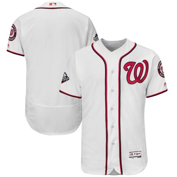 マジェスティック メンズ シャツ トップス Washington Nationals Majestic 2019 World Series Bound Authentic Flex Base Team Jersey White