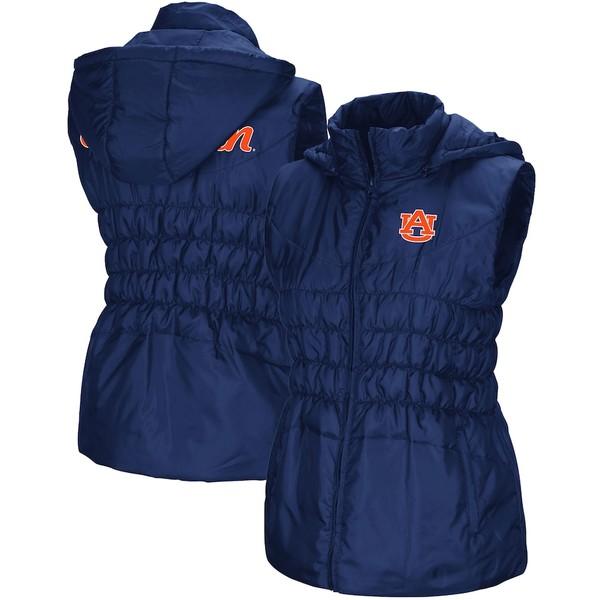 コロシアム レディース ジャケット&ブルゾン アウター Auburn Tigers Colosseum Women's Discus Puff Full-Zip Vest Navy