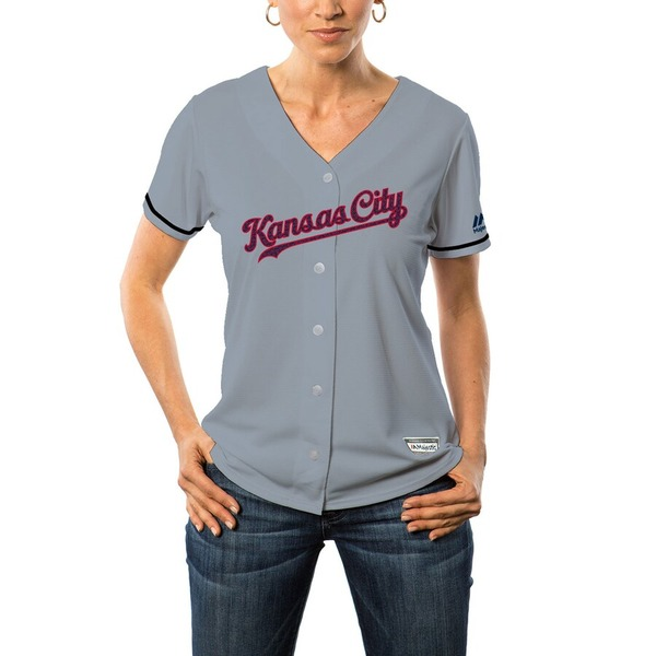 マジェスティック レディース シャツ トップス Kansas City Royals Majestic Women's Fashion Stars & Stripes Cool Base Jersey Gray
