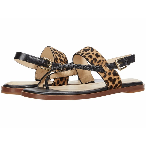 コールハーン レディース サンダル シューズ G.OS Anica Thong Sandal Black Leather/Mini Cheetah Hair On/Gold