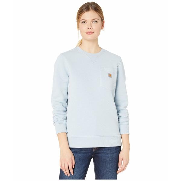 カーハート レディース パーカー・スウェットシャツ アウター Clarksburg Crew Neck Pocket Sweatshirt Soft Blue Heather