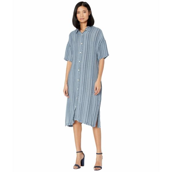 エックスシーブイアイ レディース ワンピース トップス Gael Shirtdress in Striate Cotton Stripe Lagoon Pigment