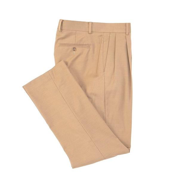 クレミュ メンズ カジュアルパンツ ボトムス Daniel Cremieux Signature Solid Pleated Dress Pants Khaki
