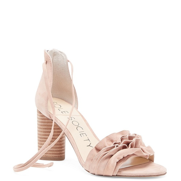 ソロソサエティ レディース サンダル シューズ Tevony Suede Ruffle Ankle Tie Block Heel Sandals Washed Pink