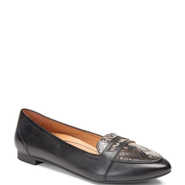 バイオニック レディース サンダル シューズ Savannah Boat Leather Loafers Black