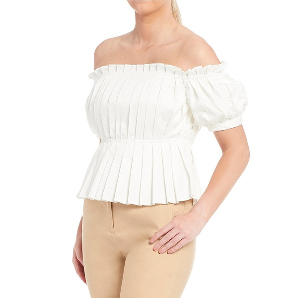 アントニオメラニー レディース シャツ トップス Belle Off-the-Shoulder Pleated Cotton Blend Sateen Blouse Ivory