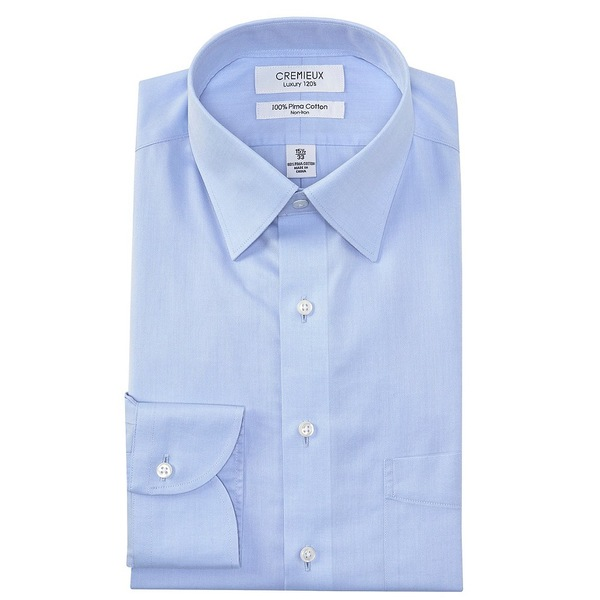 クレミュ メンズ シャツ トップス Non-Iron Classic Fit Spread Collar Solid Twill Dress Shirt Light Blue