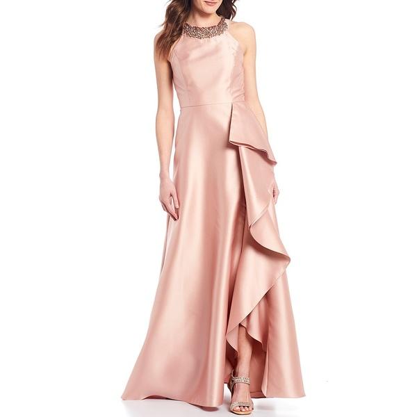 アドリアナ パペル レディース ワンピース トップス Beaded Halter Neck Cascade Ruffle Skirt Mikado Ball Gown Blush