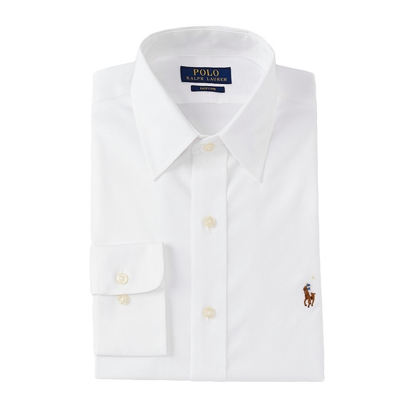 ラルフローレン メンズ シャツ トップス Classic Fit Point Collar Solid Oxford Dress Shirt White
