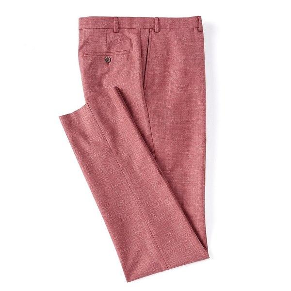 ハートシャファネールマークス メンズ カジュアルパンツ ボトムス Tailored Modern Fit Flat Front Solid Red Dress Pants Red