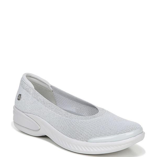 ビジーズ レディース スニーカー シューズ Nutmeg Metallic Knit Slip-On Flats Grey Silver